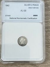 More details for queen victoria, 1862 maundy twopence, slabbed, graded au-58, 0.925 silver