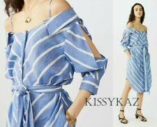 MAJE Denim Blue & White Linen Blend Quirky Shirt Camisole Dress T3 14 BNWT €189