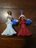 Glazed Pottery Figurines With Flowers By Artisania La Muneca Tipica set of 2
