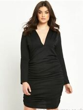 BNWT Ax Paris Black Curve Ruched Bodycon Dress Size 26 Stretch RRP £57