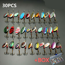 30 Metal Spinners Fishing Lures Sea Trout Pike Perch Salmon Bass Fishing Tackle