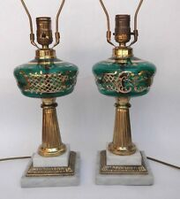 Pair Emerald Green Glass Marble Table Lamps Boudoir Lights