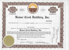 1968 BEAVER GREEK DISTILLERY  *  UNA BOTTE DI WHISKY AZIONE VERA DI WALL STREET