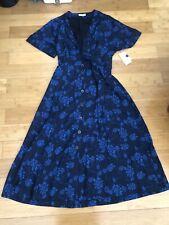 NWT Equipment Nauman Blue Floral Midi Dress - Size 4   FREE Shipping