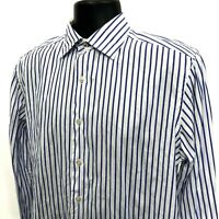 SAKS Fifth Avenue Shirt Mens Size M Medium White Striped Long Sleeve Button Up