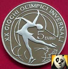 2005 ITALIA € 5 EURO OLIMPIADI 2006 TORINO pattinaggio di figura prova SILVER COIN
