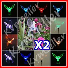 Set of 2 Solar Powered Hummingbird Garden Yard Stake Pathway Lawn Light LED Sun