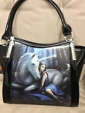 ANNE STOKES ORIGIONAL A 3 D Lenticular Shoulder Bag Black Patent ( Blue Moon )