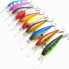 10Pcs Fishing Lures Crankbaits JERKBAIT Hooks Minnow Bait Bass Tackle Lot RATTLE