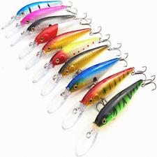10Pcs Fishing Lures Crankbaits Jerkbait Minnow Lot Hooks Bait Bass Tackle Rattle