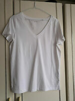 NEXT WOMENS WHITE BLOUSE TOP SIZE 8 V NECK SHORT SLEEVE