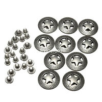 3/4'' 21mm Western Texas Star Concho Silver Buttons Snap DIY Fastener 10 Pack