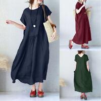 ZANZEA Womens Summer Short Sleeve Cotton Linen Kaftan Long Shirt Dress Plus Size