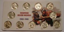 Complete 11 piece SILVER WARTIME Jefferson Nickel Set 1942 - 1945 HIGHER GRADE