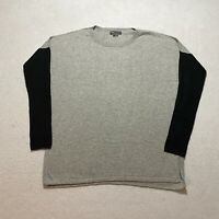 Vince Long Sleeve Sweater Size S Gray Crew Neck Pull Over Cotton Knit Womens