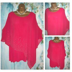 LADIES WALLIS TOP XL 18/20, Stunning Bright Pink Jewel Chiffon Overlay Kimono