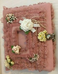 Vintage Never Used Pink Lace Cloth Photo Album Floral Padded Scrapbook Wedding