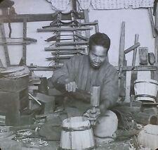 Japanese Cooper at Work in His Shop, Japan, Magic Lantern Glass Photo Slide