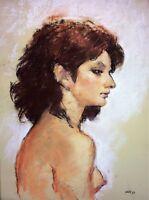 PORTRAIT DE FEMME. DESSIN. PASTEL SUR PAPIER. SIGNÉ MALET. ESPAGNE. 1988
