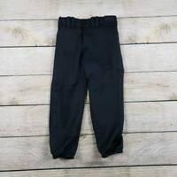 Mizuno Womens Softball Pants Black Fly Front Elastic Hem Pockets Snaps XS New