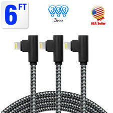 3 Pack 6ft 90 Degree iPhone Cable Right Angle lightning Cable USB Charger Cord