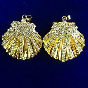 2Pcs 20mm Tibetan Golden Inlay Pave Crystal Shell Pendant Bead