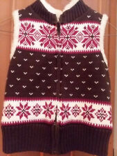Gap Kids Cute Brown/Red Knitted Vest, Girl's Size Large (10)