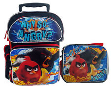 "Angry Birds 16"" Large Roller Backpack Lunch Bag 2pc Set New Licensed !"