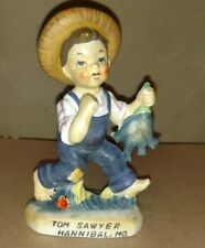 Tom Sawyer Figurine, Gone Fishing, Porcelain Figurine, Made in Japan