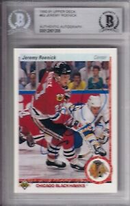 BECKETT 1990-91 UPPER DECK JEREMY ROENICK SIGNED ROOKIE CARD UD 00012801205 RC