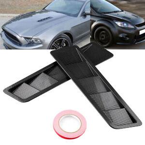 2x Car Carbon Fiber Hood Vent Louver Cooling Panel Trim Kit Universal Auto Parts