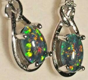 Opal Earrings Genuine Australian 7 x 5mm Opal Triplets Sterling Silver Settings