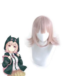 Danganronpa Nanami Chiaki Cosplay Wigs Short Pink Bob Hair + Wig Cap
