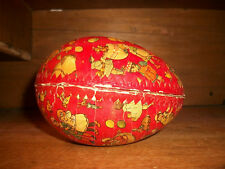 Large Rare Antique German Red Paper Mache Easter Egg Candy Container With Liner