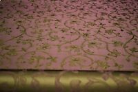 "100% Silk Burgundy Vervain Drapery Fabric Baroque Scroll Leaves  Sangria 55""W"