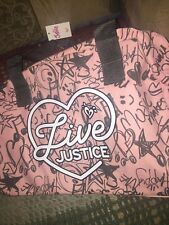 Nwt Live Justice Grey And Pink Canvas Duffle Bag