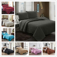 Embossed Reversible Bedspread Coverlet Quilt Set Bedding Cover Queen King