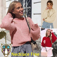 Womens Winter Warm Crop Tops O-Neck Loose Knitted Wool Sweater Blouse + Necklace