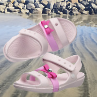 NWT CROCS Keeley Bow Charm Girls Sandals Pink SELECT SIZE