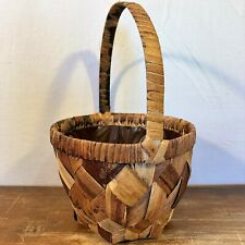 """Woven PALM Cane Round LINED Wicker BASKET w/Handle Plant Liner 8"""" x 6"""" Brown"""
