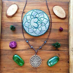 The 'Midnight Sky' Necklace Crystal Sri Yantra Pendant Hemp GypsyLee Jewels ♡