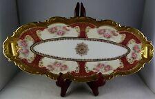 Antique Coronet Limoges Porcelain Tray Mixtion Roses Heavy Gold Trim Snowflake