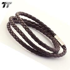 STYLISH T&T DEEP BROWN Leather Bracelet Wristband NEW LB102