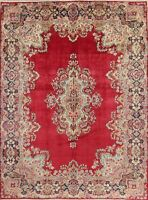 Decorative Area Wool Rug Hand-Knotted Oriental Floral 10 x 14 Red Carpet