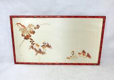 Fein gesticktes Bild Seidenstickerei Japan 1920er Jahre Chinalack