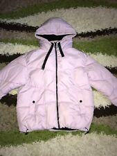 Ladies Size M 10-12 River Island Lilac Puffer Jacket Coat Double Zip Hooded