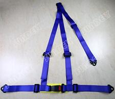 UNIVERSAL BLUE 3 POINT BUCKLE RACING SEAT BELT HARNESS UK