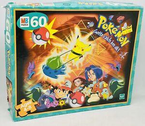 Vintage Pokemon Hasbro Jigsaw Puzzle - 1999 Nintendo Pikachu Vs Bulbasaur - Used