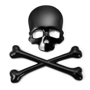 NEW 1pc 3D Black Skulln Cross Bones Logo Emblem Sticker Decal Real Metal For car