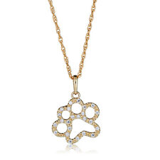 "Paw Pendant Necklace with 18"" Chain 10K Yellow Gold Cubic Zirconia Cz"